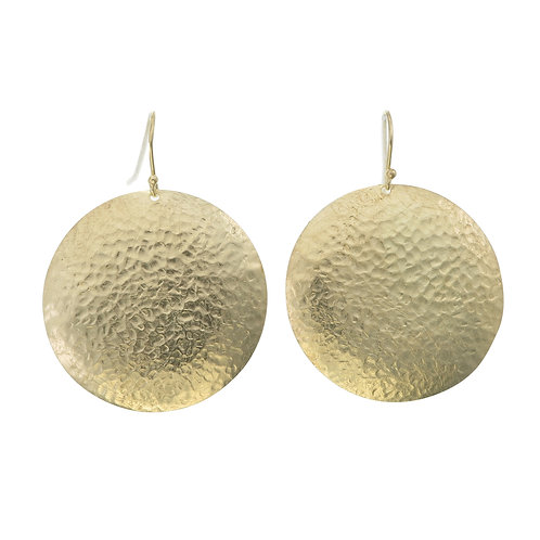 Hand Beaten Gold Round Earrings