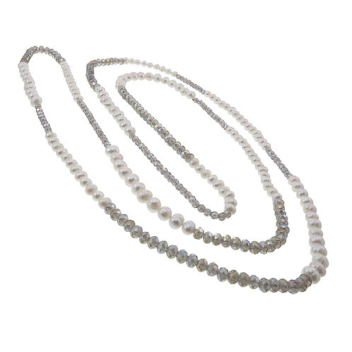 White Pearl with crystal Necklace