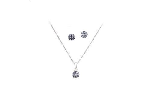 10K White Gold Diamond Stud & Pendant with Chain