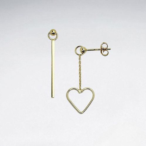 Asymmetrical Heart Stud Drop Earrings (Gold)