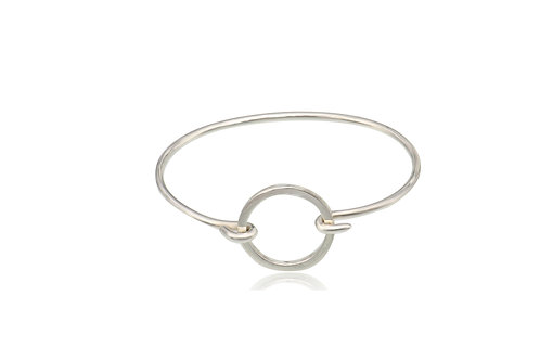 Mexican Sterling Silver Bangle with Circle Clasp