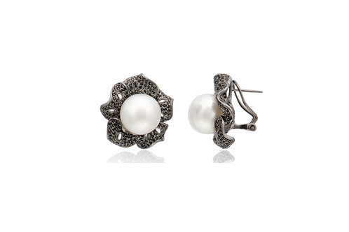 Sterling Silver Black Gold Plated White South Sea Pearl Spinel Stud Earrings