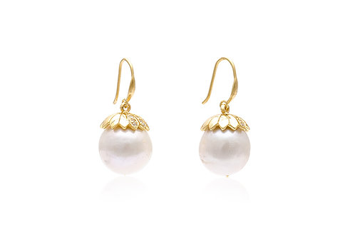 Silver Gold-Plated Flower Capped Pearl Earrings