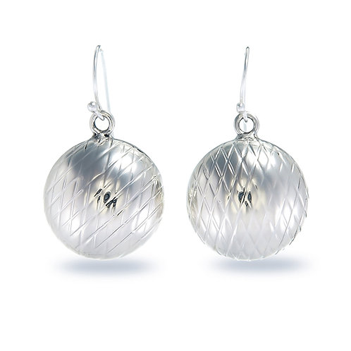 Silver Puff Round Earrings