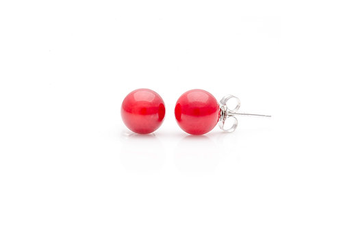 Sterling Silver Coral Ball Studs