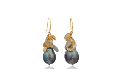 Sterling SIlver Gold Filled Baroque Pearl Citribe Labradorite Earrings