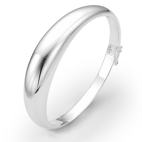 Silver Dome Oval Bangle with Lock