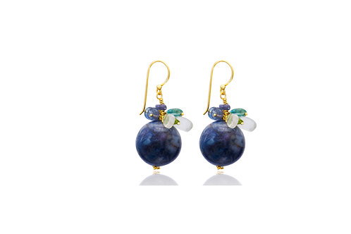 Sterling Silver Gold Plated Tanzanite Ball With Mixed Stone Earrings