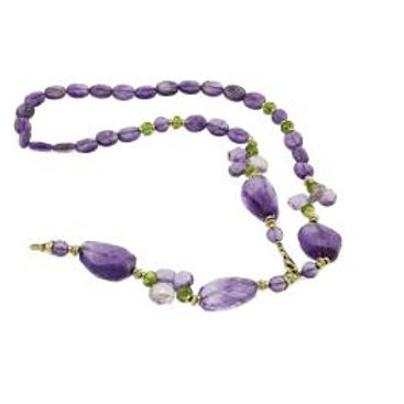 14K Gold Amethyst Irregular Peridot Necklace