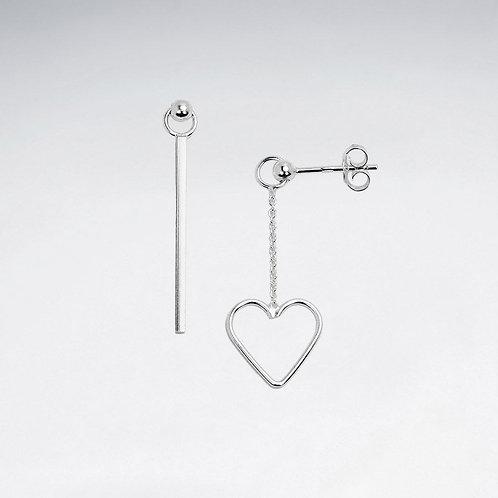 Asymmetrical Heart Stud Drop Earrings