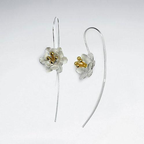 Two Tone Flower Threader Earrings