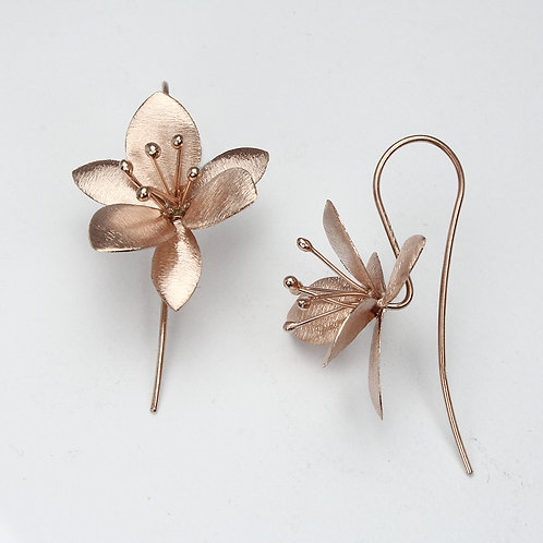 Clematis Flower Earrings-Brushed Rose Gold
