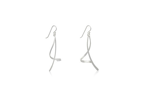Silver Stick with Swirl Earrings