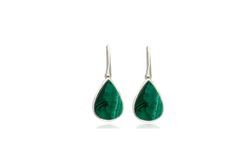 Sterling Silver Malachite Teardrop Earrings