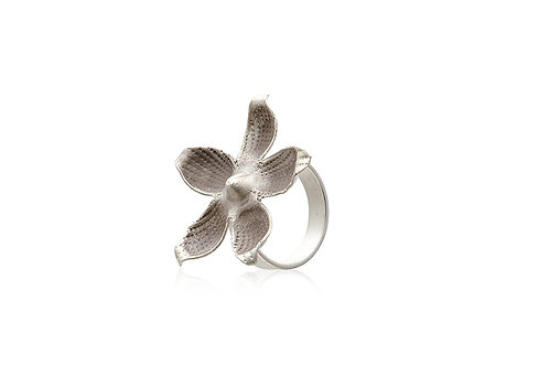 Oxidised Sterling Silver Large Flower Ring