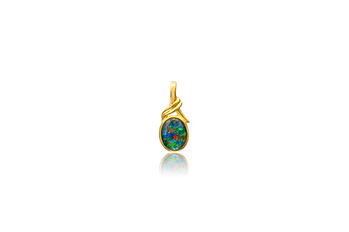 Gold Plated Triplet Opal Oval Pendant