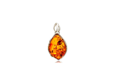 Sterling Silver Amber Marquise Pendant