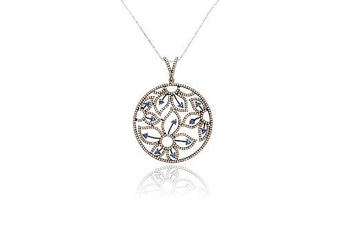 Sapphire and Diamond Filigree Pendant