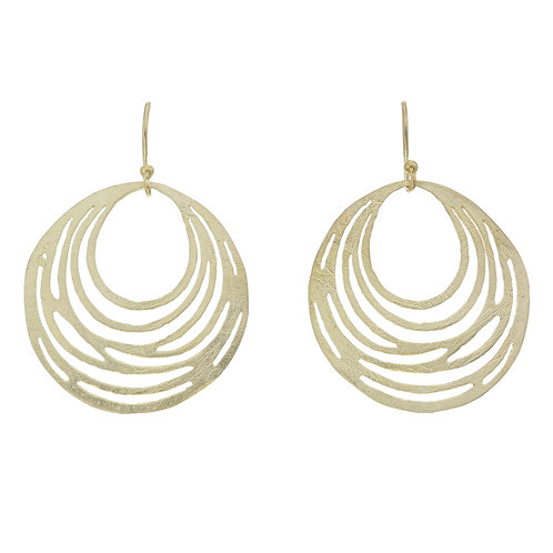 Brushed Gold Round Cut out Earrings