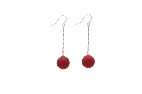 Sterling Silver Coral Ball Earring With Chain