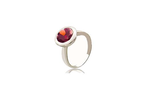 Sterling Silver Garnet Round Ring