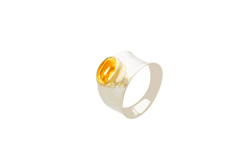 Sterling Silver 2 tone Citrine Round Ring