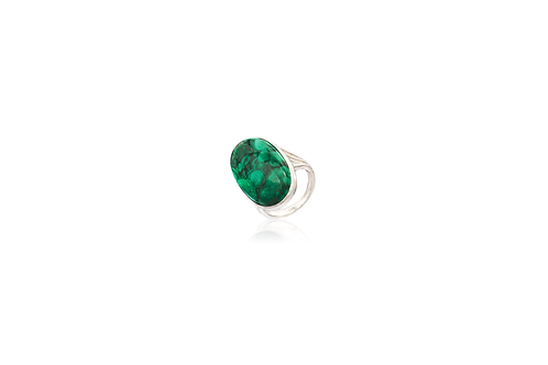 Sterling Silver Malachite Oval Ring