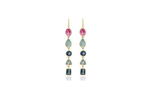 Sterling Silver Gold Plated Labradorite Pink Quartz Blue Topaz Earrings