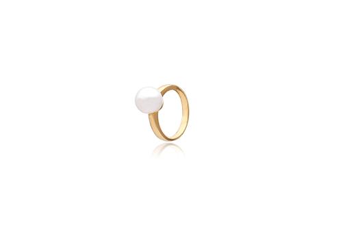 18K Gold White South Sea Pearl Semi Round Ring