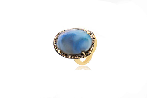 Sterling Silver Gold Plated Diamond Labradorite Oval Ring