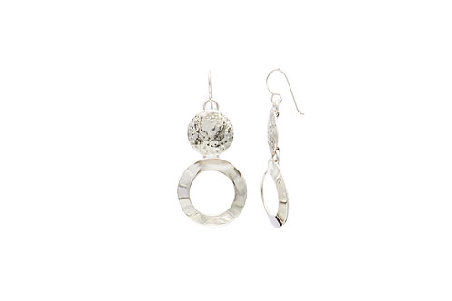 Mexican Silver Hand made Open Disc Earrings