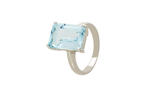 Sterling Silver Blue Topaz Rectangle Ring