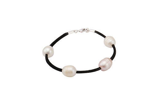 Sterling Silver 4 Mix Colour Fresh Water Pearl Charm Suede Bracelet