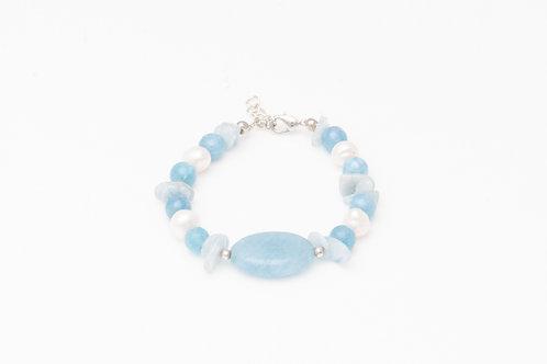 Blue Agate Pearl Chain Bracelet
