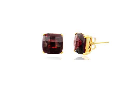 9K Gold Hessonite Garnet Square Stud Earrings