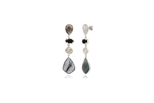 Sterling Silver Tourmaline Quartz Onyx Labradorite Poster Earrings