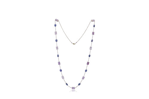 Sterling Silver Gold Plated Amethyst Sapphire Necklace