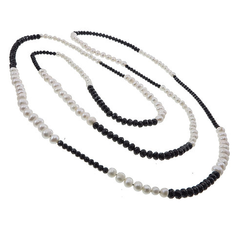 White Pearl with Black Crystal Necklace