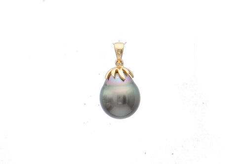 9K Gold Black South Sea Pearl Round Pearl