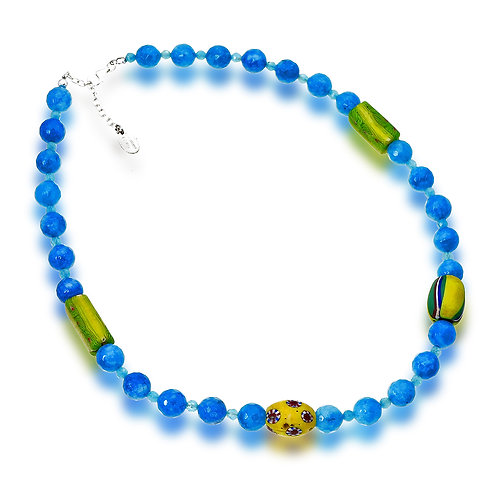 Aquamarine Agate and Trade Beads Necklace