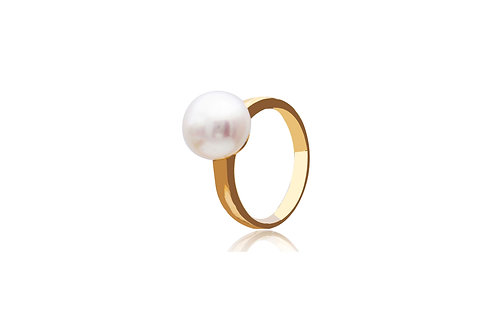 18K Gold White off Round South Sea Pearl Ring