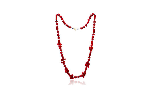 Sterling silver Red Coral Lapis Lazuli Necklace