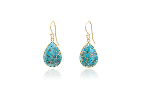 Gold Plated Turquoise Pear Earrings