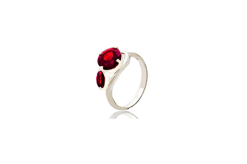 Sterling Silver Garnet Marquise & Round Ring