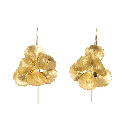 Hibiscus Flower Earrings -Brushed Yellow Gold
