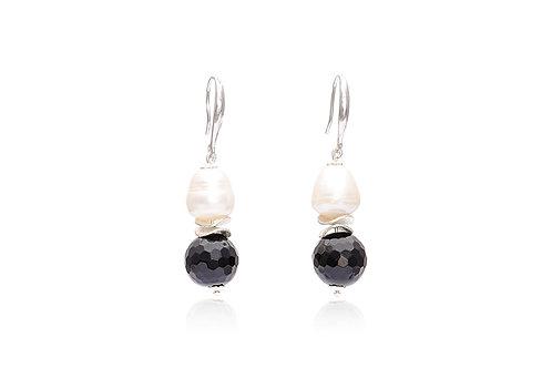 Silver Pearl Onyx Ball Drop Earrings