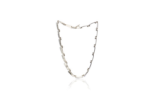 Mexican Silver Trapezoid Link Necklace