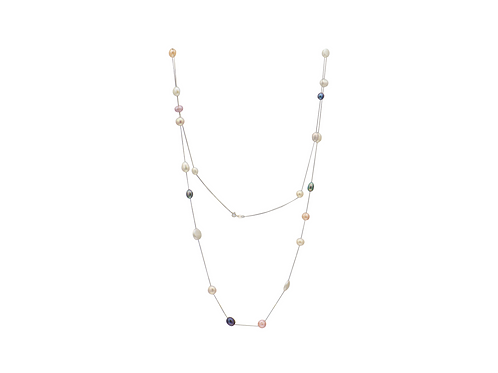 Sterling Silver 21 Mix Colour Pearl Necklace