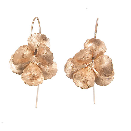 Hibiscus Flower Earrings -Brushed Rose Gold