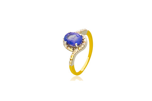 Sterling Silver Gold Plated Tanzanite Diamond Ring